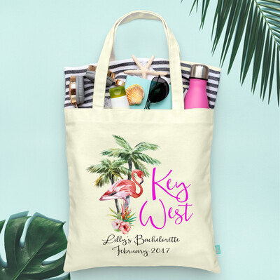 Key West Lets Flamingle Flamingo Beach Bachelorette Tote Bag