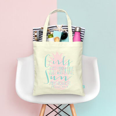 Girls Just Wanna Have Sun Beach Bachelorette Tote Bag