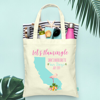 Let's Flamingle Destination Map Bachelorette Tote Bag