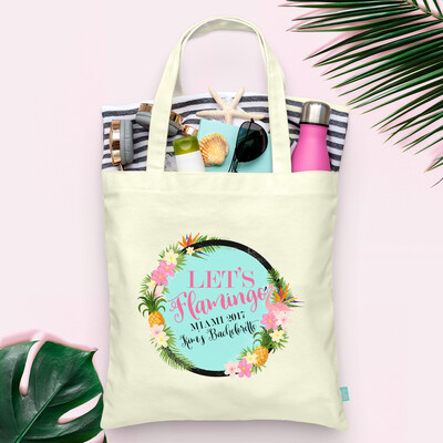 Let's Flamingle Floral Flamingo Pineapple Bachelorette Tote Bag