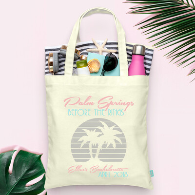 Palm Springs Before the Rings Retro Palm Tree Bachelorette Tote Bag
