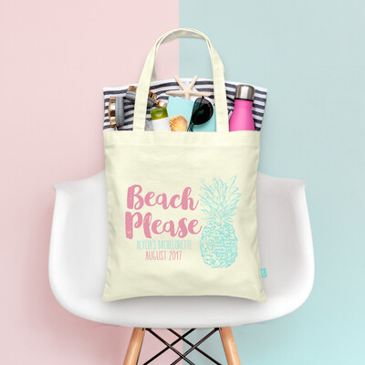 Retro Beach Please Pineapple Beach Bachelorette Tote Bag