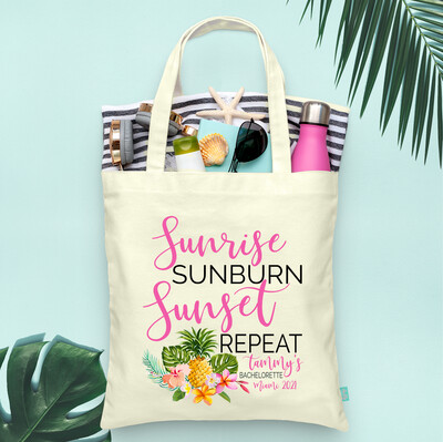 Sunrise Sunburn Sunset Repeat Floral Tropical Pineapple -Bachelorette Tote Bag