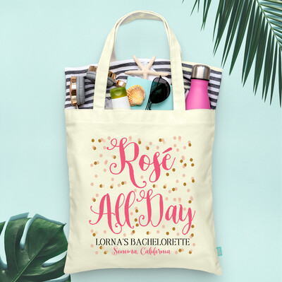 Rosé All Day Confetti -Wine Country Vineyard Bachelorette Tote Bag