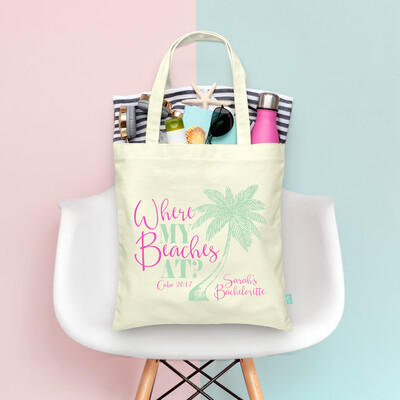 Where My Beaches At Retro Palm Trees- Bachelorette Tote