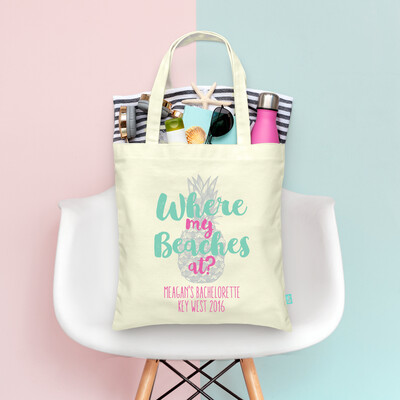 Where My Beaches At Funky -Beach Bachelorette Tote