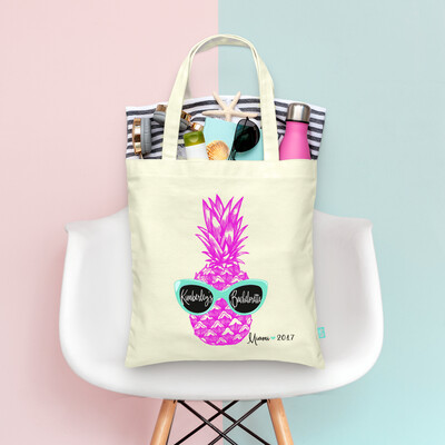 Where My Beaches At -Retro Pineapple Sunglasses -Beach Bachelorette Tote Bag