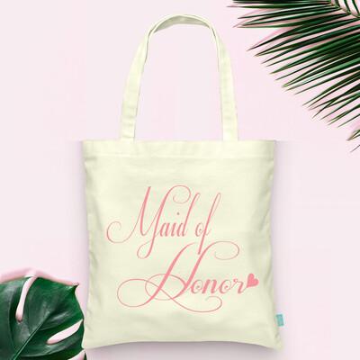 Fancy Maid of Honor Wedding Tote Bag