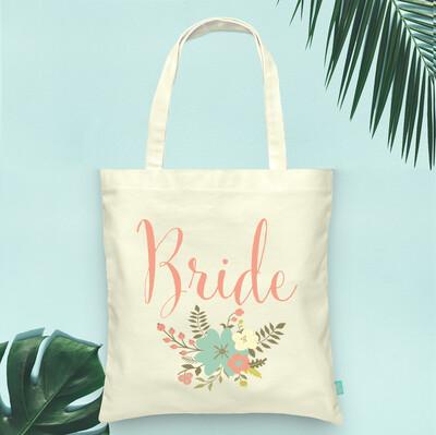 Floral Bride Tote Bag