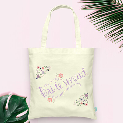 Floral Bridesmaid -Bridal Party Tote Bag