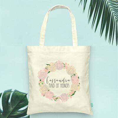 Floral Bridal Party Wreath Wedding Tote Bag