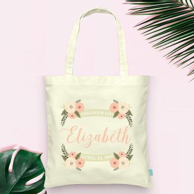 Floral Personalized Bridesmaid Wedding Tote Bag