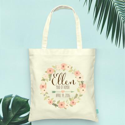 Floral Wreath Bridal Party Wedding Tote Bag