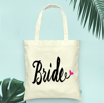 Funky Heart Bride Wedding Tote Bag