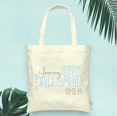 I Love My Junior Bridesmaid -Wedding Tote Bag