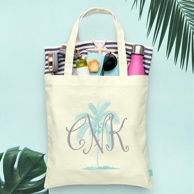 Monogram Palmetto Palm Tree Wedding Party Tote Bag