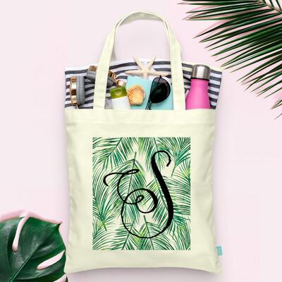 Palm Leaf Monogram - Beach Wedding Tote
