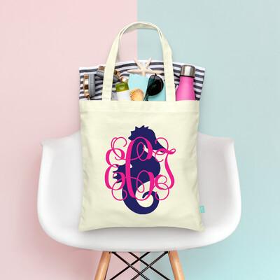 Seahorse Monogram Wedding Party Tote Bag