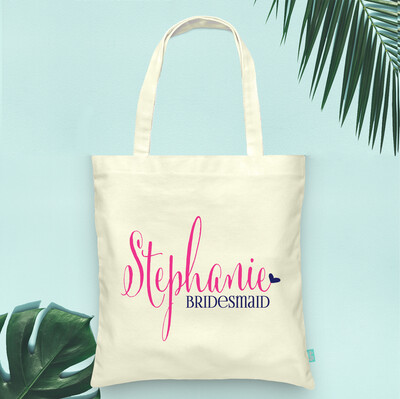 Personalized Heart Bridal Party Tote Bag
