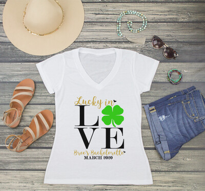 St Patricks Day Lucky in Love St Pattys Day Bachelorette Party T-Shirt