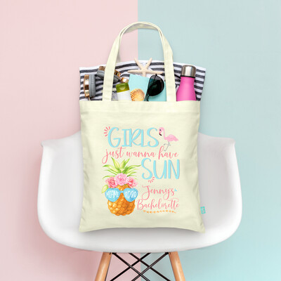 Girls Just Wanna Have Sun Pineapple Beach Bachelorette Tote Bag