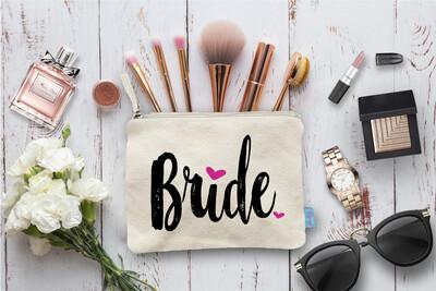 Bride Hearts Bridal Party Makeup Cosmetic Bag