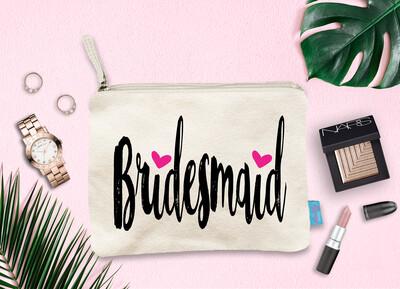 Bridesmaid Hearts Bridal Party Makeup Cosmetic Bag