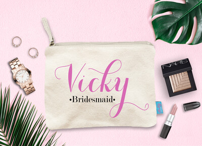 Fancy Personalized Bridal Party Makeup Cosmetic Bag