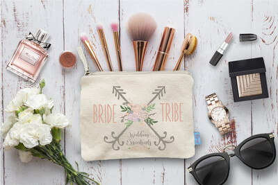 Bride Tribe Wedding Essentials Floral Bachelorette Party Makeup Cosmetic Bag