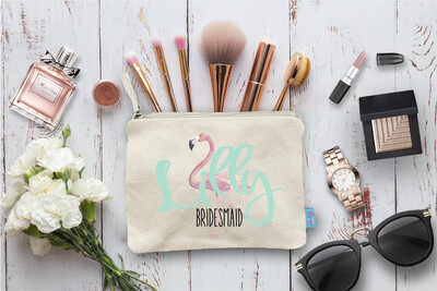 Flamingo Personalized Bridal Party Beach Wedding Makeup Cosmetic