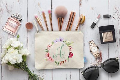 Floral Exotic Initial Bridal Party Makeup Cosmetic Bag