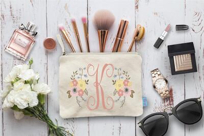 Floral Initial Bridal Party Makeup Cosmetic Bag