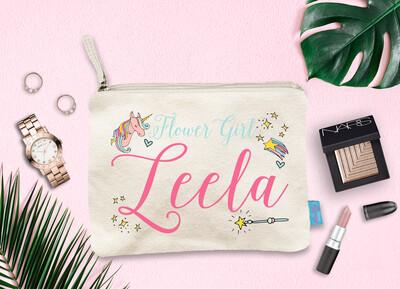 Flower Girl Personalized Magic Unicorn Bridal Party Wedding Makeup Cosmetic Bag