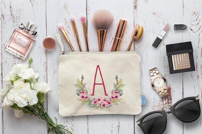 Funky Laurel Wreath Floral Initial Bridal Party Makeup Cosmetic Bag