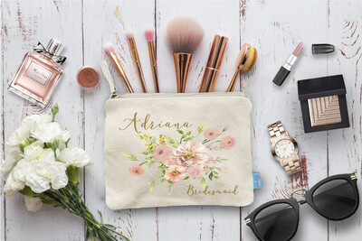 Floral Personalized Bridal Party Wedding Makeup Cosmetic Bag