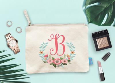 Laurel Wreath Floral Initial Bridal Party Makeup Cosmetic Bag