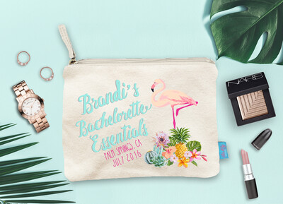 Lets Flamingle Bachelorette Essentials Bachelorette Party Makeup Cosmetic Bag