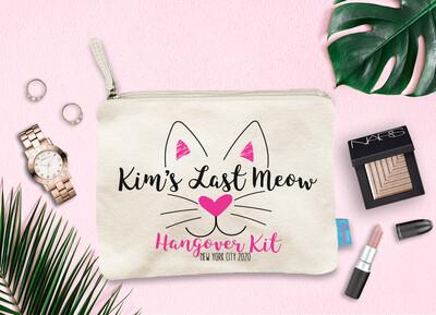 Last Meow Personalized Cat Bachelorette Party Makeup Bag