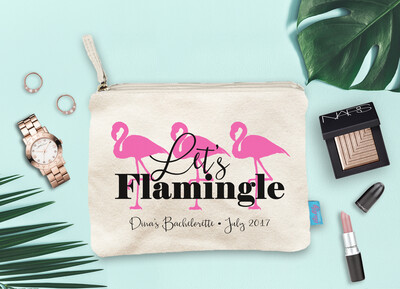 Lets Flamingle Flamingo Destination Wedding Bridal Party Makeup Cosmetic Bag