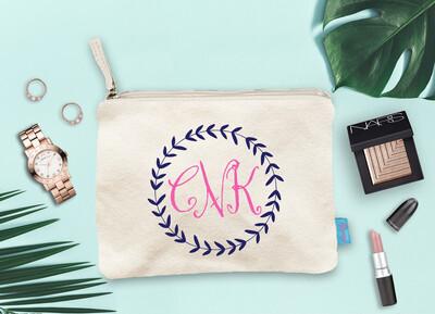 Monogram Wreath Bridal Party Makeup Cosmetic Bag