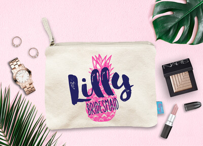 Pineapple Personalized Bridal Party Makeup Cosmetic Bag