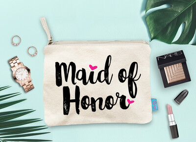 Maid of Honor Hearts Bridal Party Makeup Cosmetic Bag