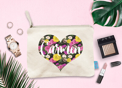 Personalized Heart Funky Bridal Party Makeup Cosmetic Bag