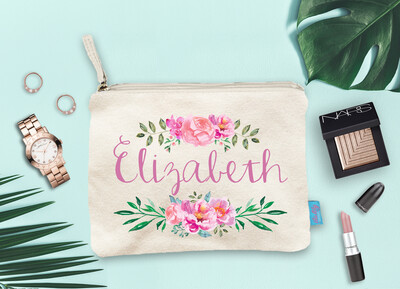 Personalized Floral Name Bridal Party Makeup Cosmetic Bag