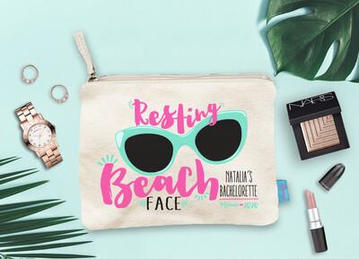 Resting Beach Face Beach Bachelorette Party Makeup Cosmetic Bag