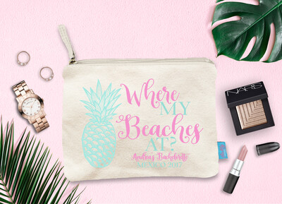 Where My Beaches Pineapple Destination Wedding Bridal Party Makeup Cosmetic Bag