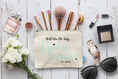 Will You Be My Maid of Honor With Love -Bridal Party Makeup Cosmetic Bag