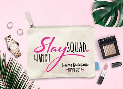 Slay Squad Glam Kit Personalized Bachelorette Party Makeup Bag