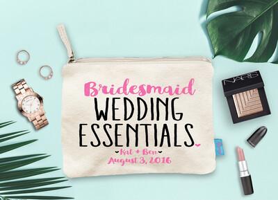 Wedding Essentials Bridal Party Makeup Cosmetic Bag