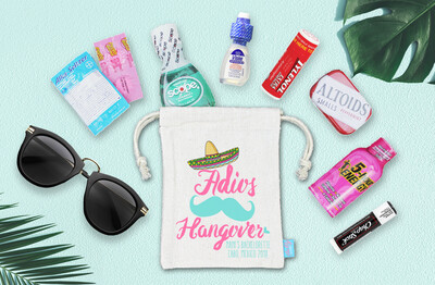 Adios Hangover Sombrero Stash Mexico Bachelorette Favor Bag